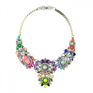 Colorful Acrylic Pearl and Rhinestone Statement Necklace 34580 - Multicolor