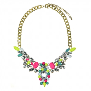 Colorful Acrylic and Rhinestone Statement Necklace 34581 - Multicolor