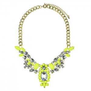 Colorful Acrylic and Rhinestone Statement Necklace 34581 - Yellow