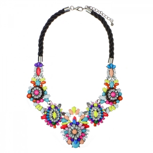 Colorful Acrylic and Rhinestone Rope Statement Necklace 34600 - Multicolor