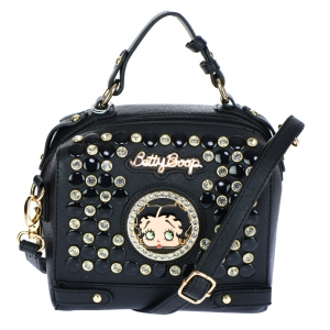 Betty Boop Studs and Rhinestone Crossbody Bag 34610 - Black