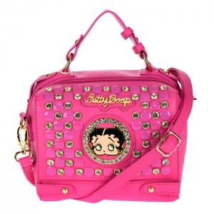Betty Boop Studs and Rhinestone Crossbody Bag 34610 - Fuchsia