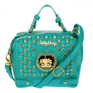 Betty Boop Studs and Rhinestone Crossbody Bag 34610 - Turquoise