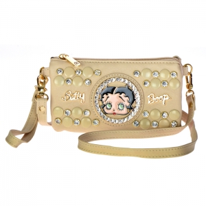 Betty Boop Studs and Rhinestone Triple Compartment Clutch Purse 34613 - Beige