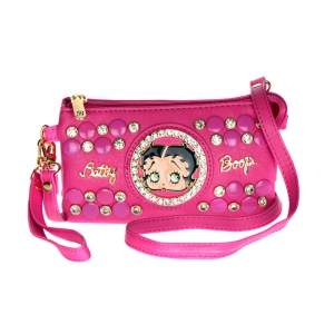 Betty Boop Studs and Rhinestone Triple Compartment Clutch Purse 34613 - Fuchsia