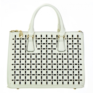 Laser Cut Cross Faux Leather Handbag 34673 - White