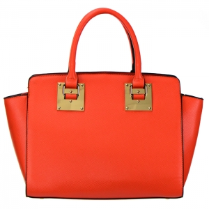 Designer Inspired Faux Leather Gold Metal Plate Accent Tote Bag 34677 - Orange