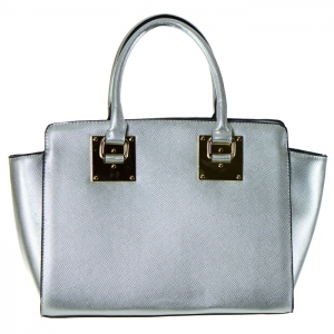 Designer Inspired Faux Leather Gold Metal Plate Accent Tote Bag 34677 - Silver