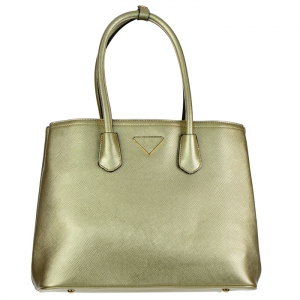Designer Inspired Gold Triangle Accent Faux Leather Tote Bag 34683 - Gold