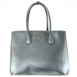 Designer Inspired Gold Triangle Accent Faux Leather Tote Bag 34683 - Silver