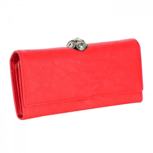 Rhinestone Ball Top Insert Faux Leather Wallet 34703 - Coral