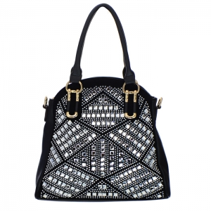 Rhinestone Accent Faux Leather Tote Bag 34712 - Black