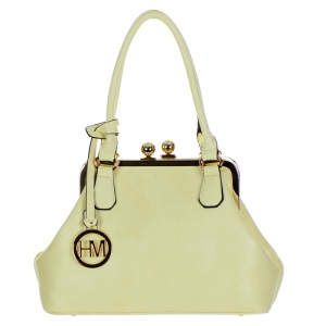 Double Metal Ball Tuck Lock Clasp Faux Leather Handbag 34716 - Off White