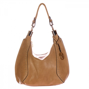 Faux Leather Studded Hobo Bag with Charm 34722 - Clay