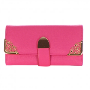 Faux Leather Gold Metal Vine Accents Wallet 34735 - Pink