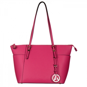 Faux Leather Gold Accents Tote Bag with Charm 34738 - Fuchsia