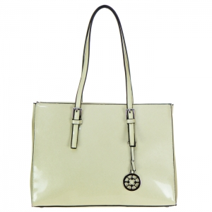 Patent Leather Tote bag with Charm 34752 - Beige
