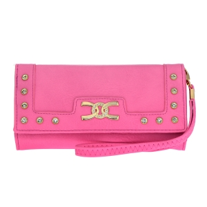 Faux Leather Rhinestone Wallet 34777 - Pink