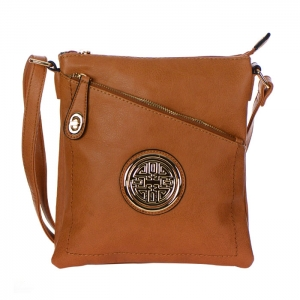 Faux Leather Gold Circle Accent Messenger Bag 34799 - Brown