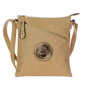 Faux Leather Gold Circle Accent Messenger Bag 34799 - Clay