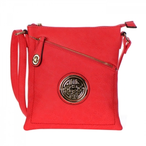 Faux Leather Gold Circle Accent Messenger Bag 34799 - Coral