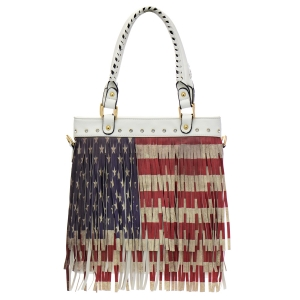 American Flag Fringe Shoulder Bag 34803 - White