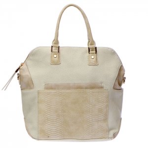 Urban Expressions Odessa Snakeskin Pocket Textured Faux Leather Handbag 34808 - Cream
