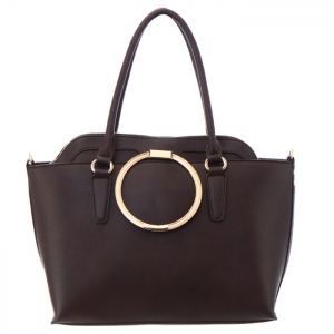 Circle Metal Handle Double Faux Leather Tote Bag 34821 - Brown