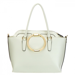 Circle Metal Handle Double Faux Leather Tote Bag 34821 - White