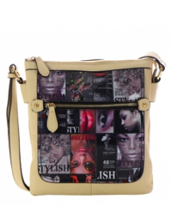 Magazine Print Design Crossbody Bag WYP2001D  ALMOND