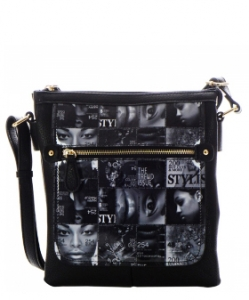 Magazine Print Design Crossbody Bag WYP2001E BLACK