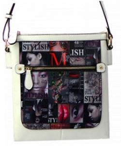 Magazine Print Design Crossbody Bag WYP2001D  WHITE