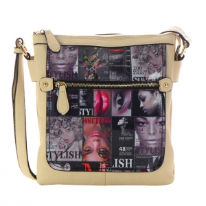 Magazine Print Design Crossbody Bag 34825 - Almond - D