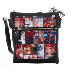 Magazine Print Design Crossbody Bag 34825 - Black - A