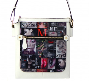 Magazine Print Design Crossbody Bag WYP2001D  34825 - D