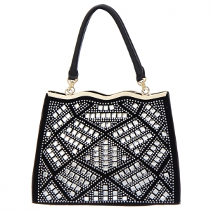 Rhinestone Accent Faux Leather Tote Bag 34831 - Black