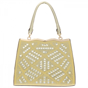 Rhinestone Accent Faux Leather Tote Bag 34831 - Champagne