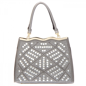 Rhinestone Accent Faux Leather Tote Bag 34831 - Pewter