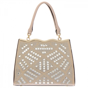 Rhinestone Accent Faux Leather Tote Bag 34831 - Taupe