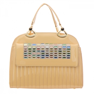 Colorful Stones and Rhinestone Accent Patent Leather Handbag 34879 - Beige