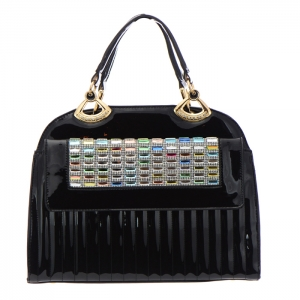 Colorful Stones and Rhinestone Accent Patent Leather Handbag 34879 - Black