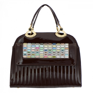 Colorful Stones and Rhinestone Accent Patent Leather Handbag 34879 - Brown