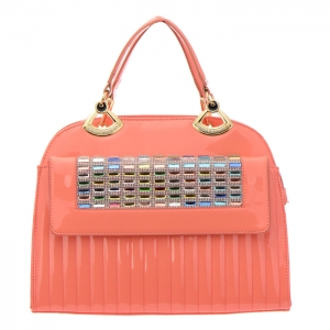 Colorful Stones and Rhinestone Accent Patent Leather Handbag 34879 - Peach