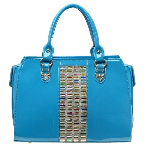 Colorful Stones and Rhinestone Accent Patent Leather Handbag 34882 - Blue