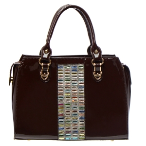 Colorful Stones and Rhinestone Accent Patent Leather Handbag 34882 - Brown