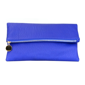 Folded Faux Leather Clutch Purse 34924 - Blue