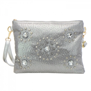 Rhinestone Stud Accent Messenger Bag 34938 - Silver