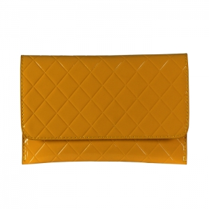 Patent Leather Quilted Clutch Bag 34969 - Mustard