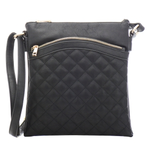 Quilted Faux Leather Messenger Bag 34983 - Black