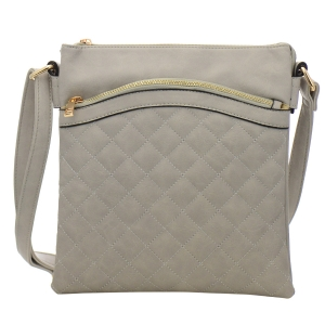 Quilted Faux Leather Messenger Bag 34983 - Gray